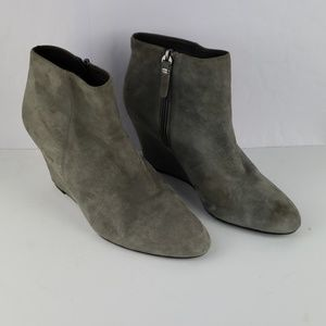 VIA SPIGA Harrison Gray Suede Wedge Bootie Size 10